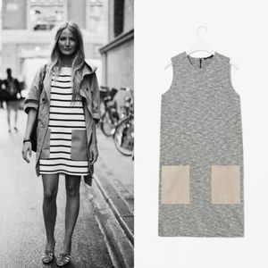 COS Leather Pocket Shift Sleeveless Marled Dress